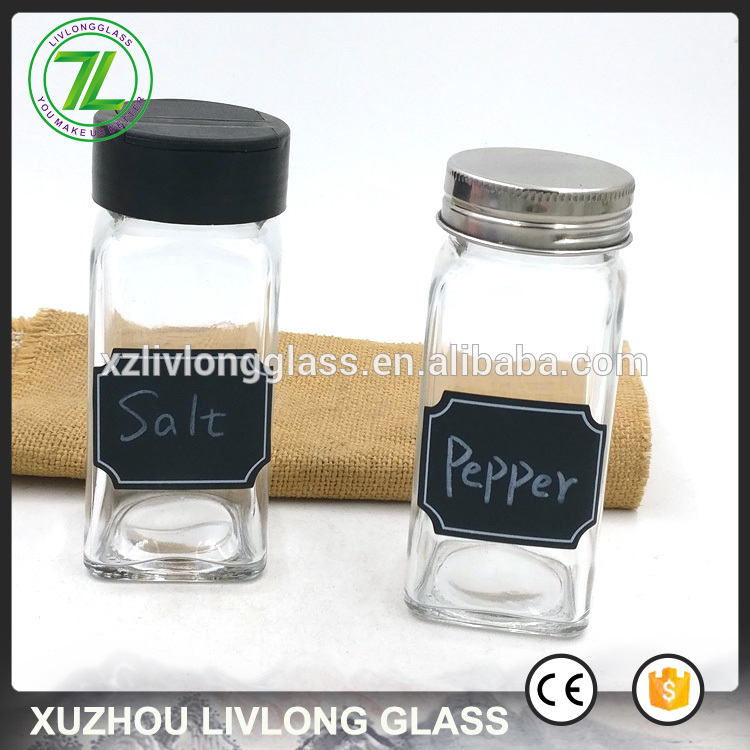 black pepper and seasalt use 4oz 120ml square spice glass jars with flip lids