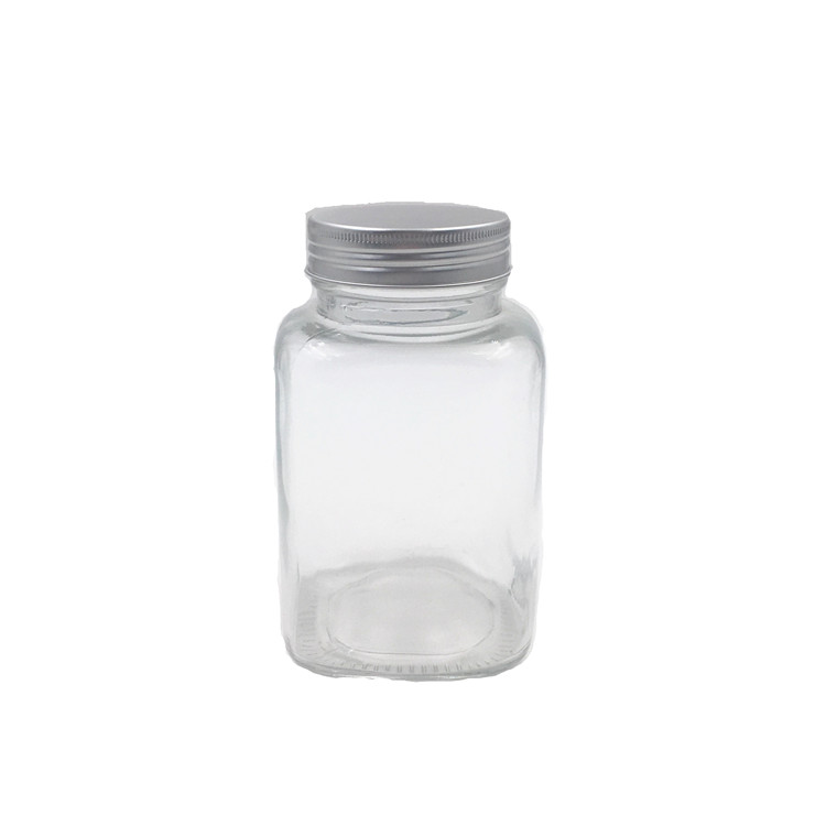 18oz Square Glass Jar Clear Glass Bottle With Screw Lid