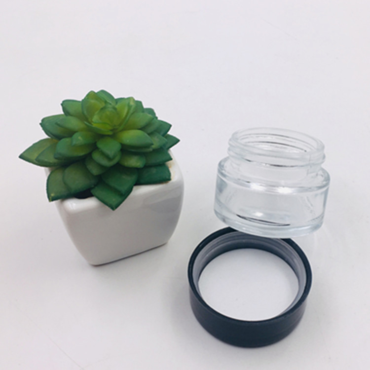 30ml clear mepty skin care cream glass mason jar cosmetic packaging glass jar with plastic black lid