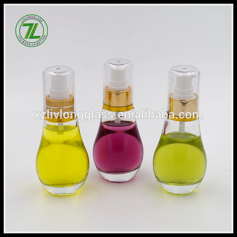 glass face cream bottle with pump cap