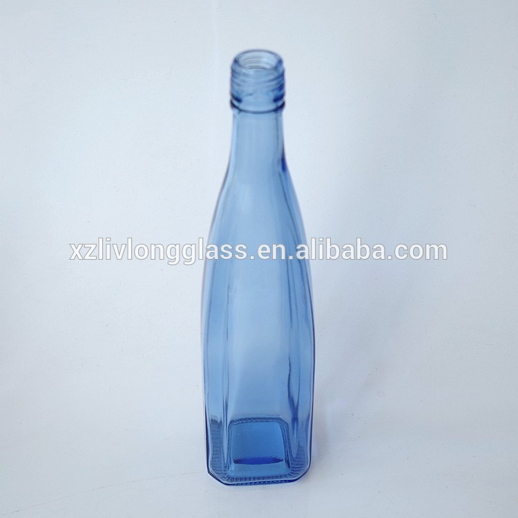 500ml LIGHT BLUE Square Glass Liquor Bottle with Screw Top