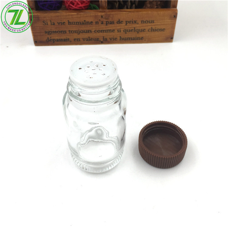 50ml Glass Round Spice Jar For Salt Pepper With Shaker Screw Cap