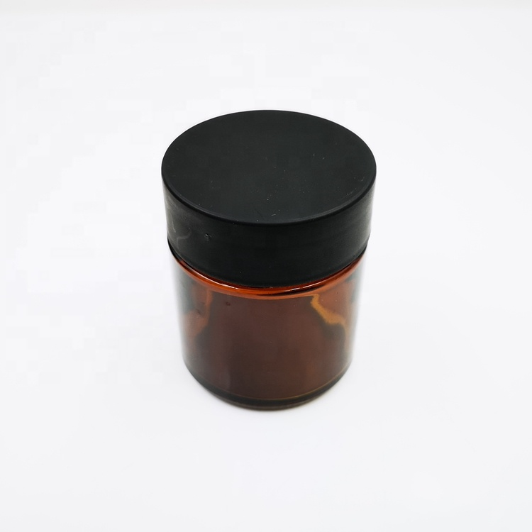 2 oz 60ml Amber Child Proof Glass Jars for Hemp Marihuana Leaf