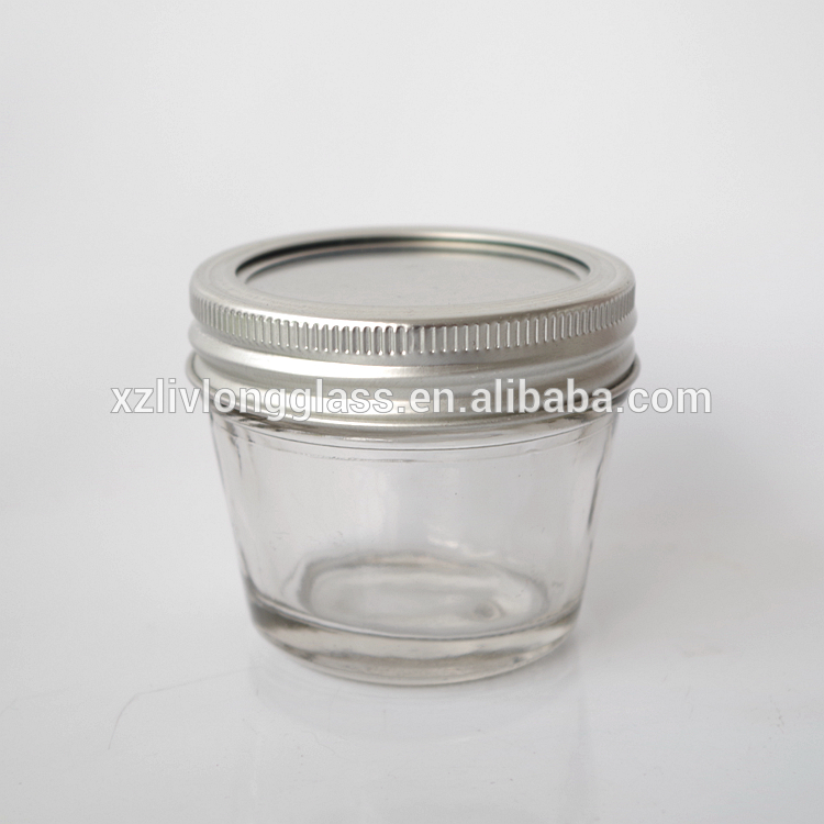 100ml glass wide mouth glass mason jar with metal lid