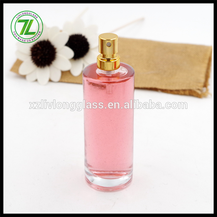 50ml cylinder round glass perfume bottle with pump