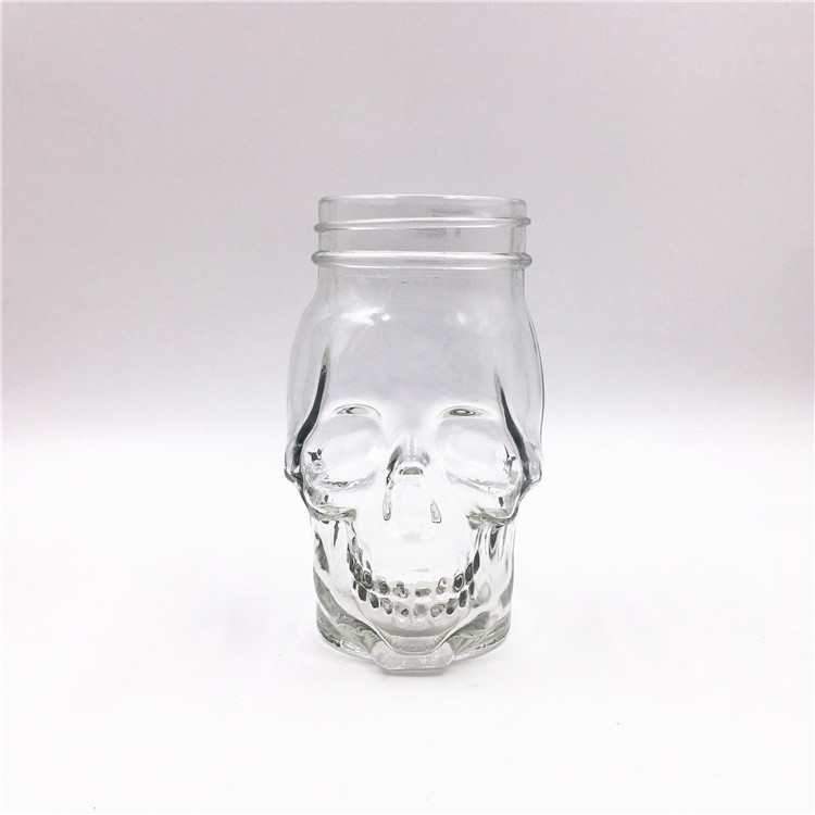 16oz Skull Shaped Candy Bottle Glass Mason Jar With Screw Lid