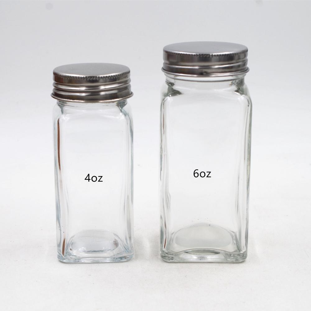 wholesale cheap spice glass jar  4oz cover with 11 holes for salt dispenser set packaging
