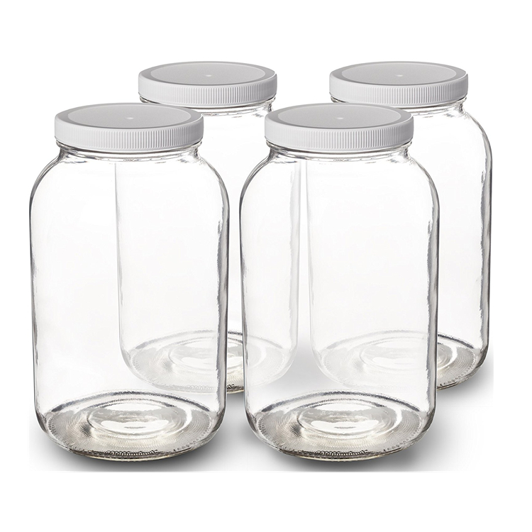 1 Gallon Clear Glass Jars Wide Mouth with Airtight Lids