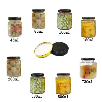 hot sale party jam and honey use 45ml small honey packaging jar 1.5oz empty glass Hexagon bottle with metal black twist off lids