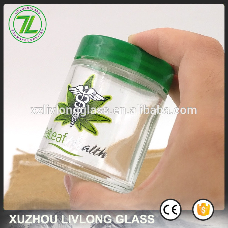 custom design private labels 60ml 2oz straight side glass jars for kush