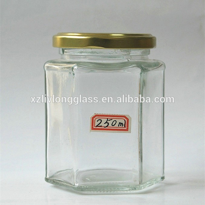 wholesale mini oval hexagon candy jar 100ml glass jam jar with lug lid