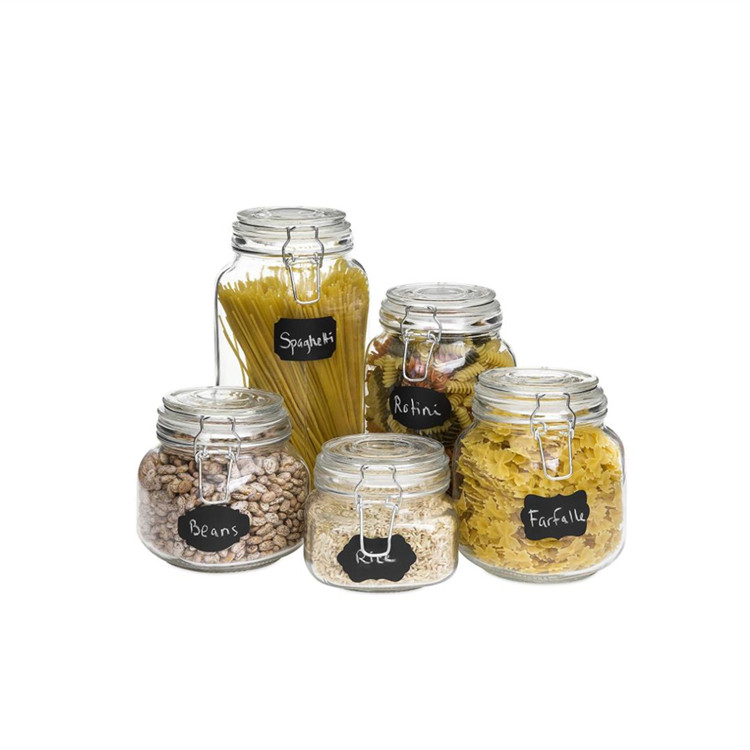 Clear Round Glass Jar With Clip Top And Seal For Spice Candy