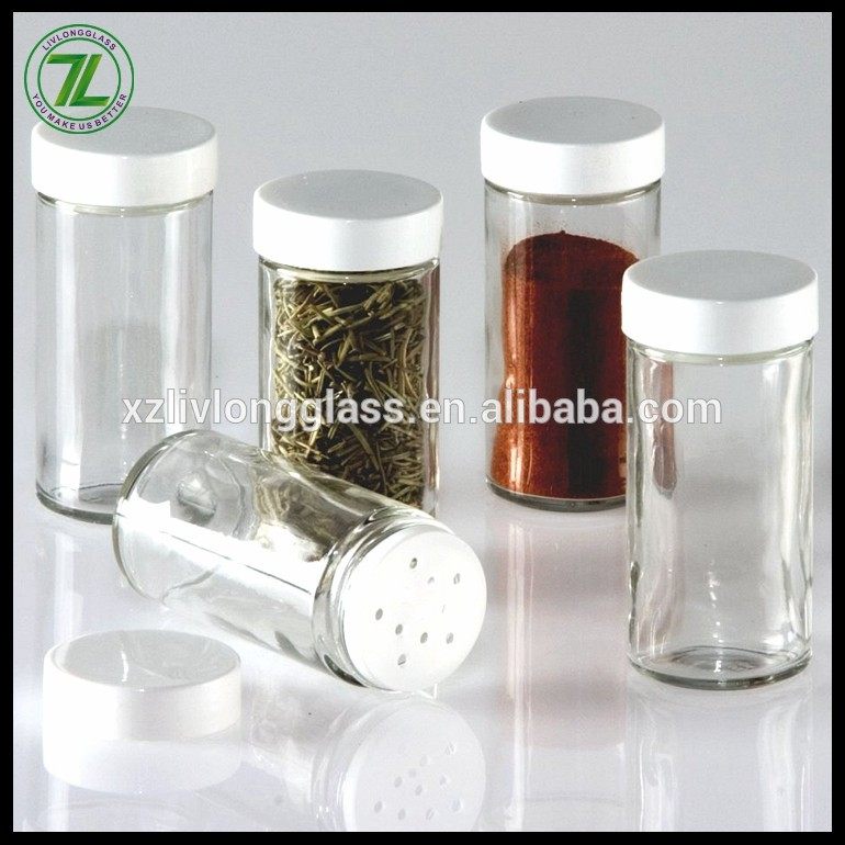 100ml Clear Glass Jar for Spice Herbs Pepper with Shaker and Cap