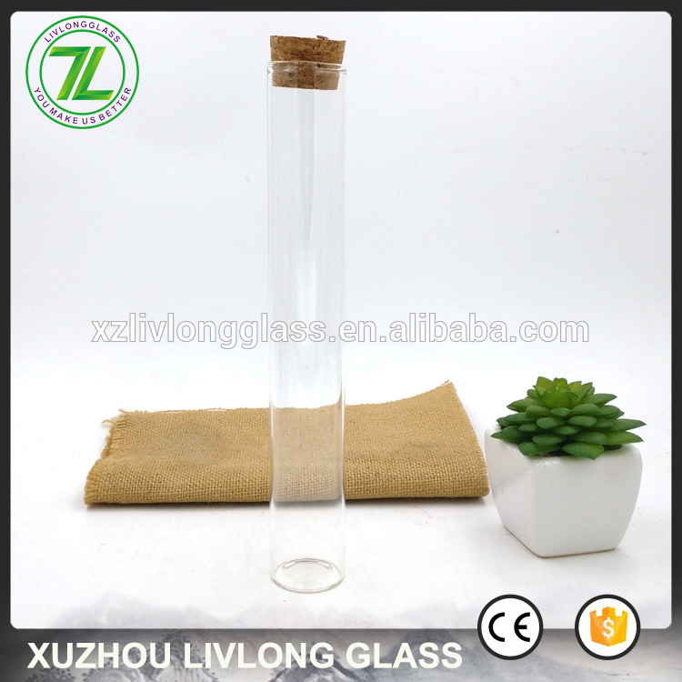 borosilicate vial 100ml glass test tube with cork lids