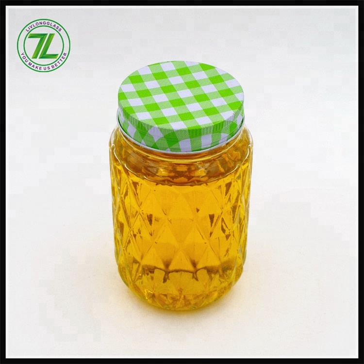 pineapple shaped clear 500ml honey bee glass mason jar 16oz summer cold juice packaging glass jar with screw colourful lid