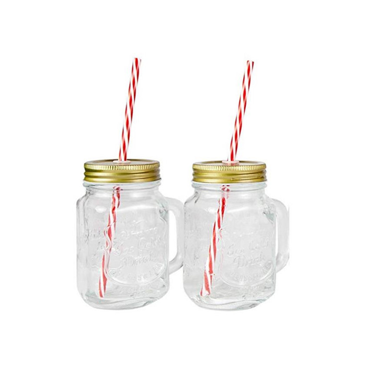 glass mason jars mugs with handle and lids