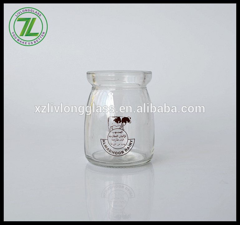100ml glass jelly jar glass milk jar glass pudding jar with PE lid