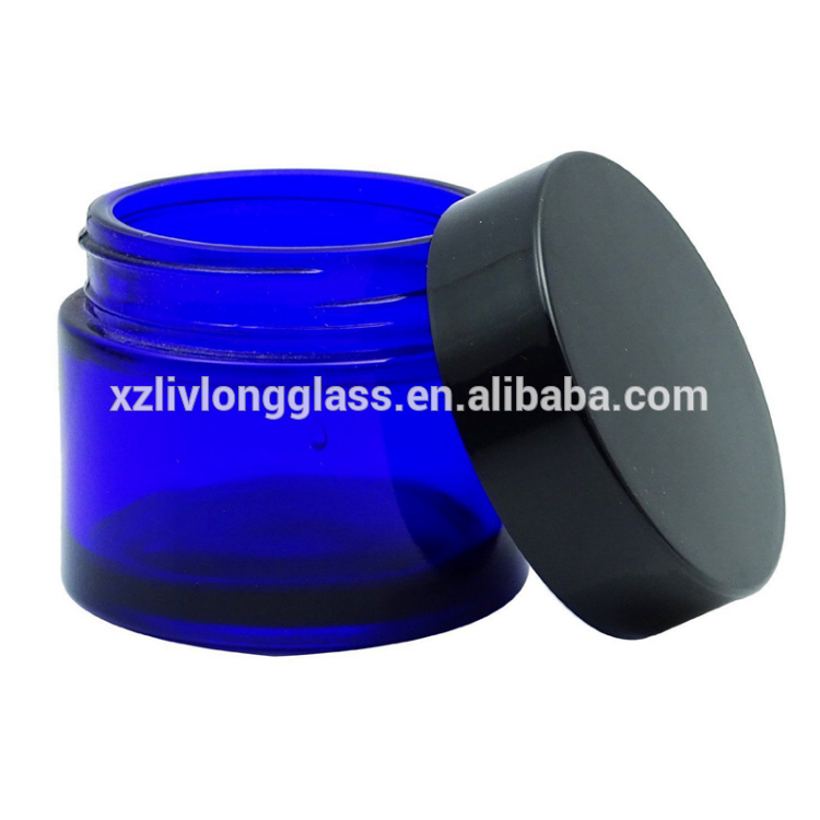 CUBALT BLUE Straight Side Cosmetic Glass Skin Care Cream Jar with Lid
