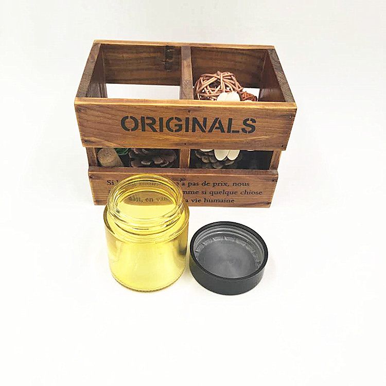 In stock 120ml CBD resistant glass jar with wood grain or plastic child proof lid for cosmetic packaging or herbs weeds 4oz