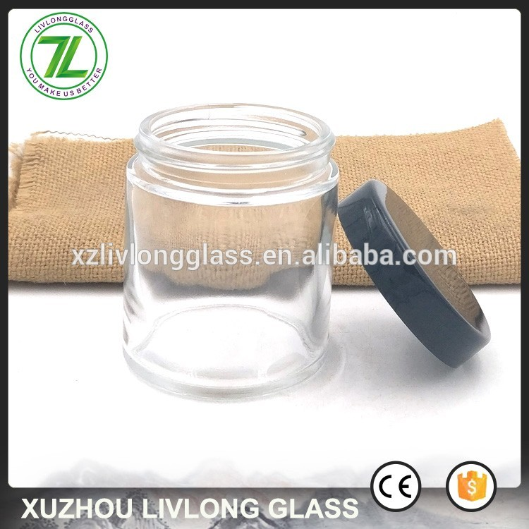customize 4oz round kush container 120ml straight side glass jar with smooth lids