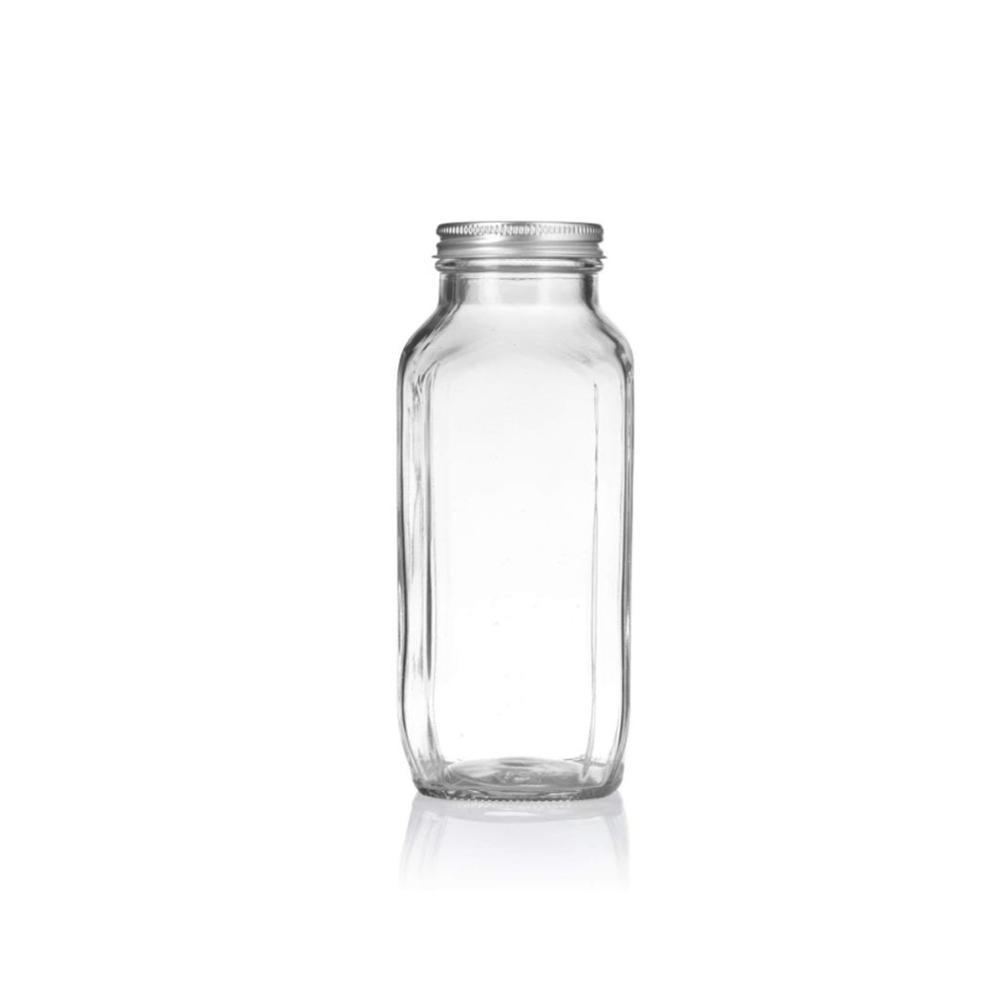 hot sale 16oz French Square Beverage Cold Press Juice Glass Bottles With Screw Cap