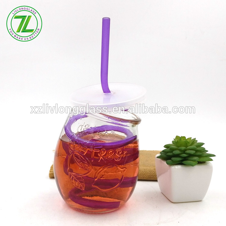 China OEM Glass Dropper Bottle 30ml - mango shaped juice jar 340ml 12oz glass mason drinking jar with straws – LIVLONG