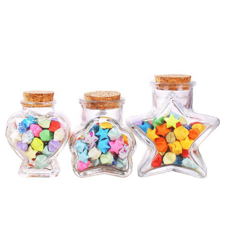 High definition Glass Perfume Bottle - Unique Star Heart Flower Shape Wishing Message Room Decoration Gift Storage Glass Bottles with Cork Stoppers – LIVLONG