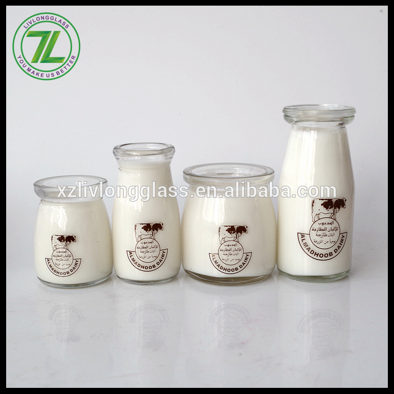 Factory Price Clear Boston Bottles - custom design 200ml pudding jar 8oz wide mouth glass milk jar with printed logo and cap – LIVLONG