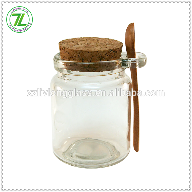 240mL Clear Glass Jar with Cork Lid and Wood Spoon 8oz Wholesale Glass Jar with Spoon Attached Featured Image