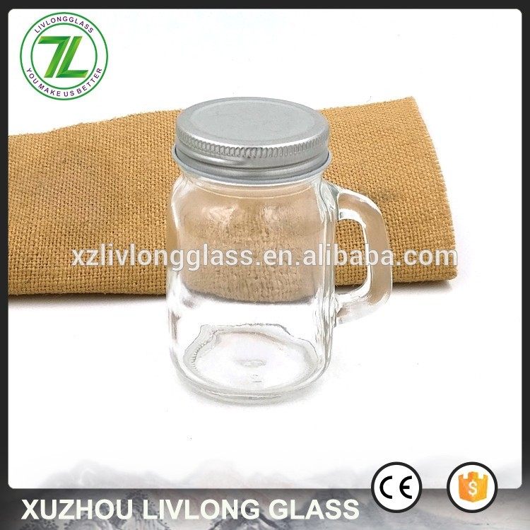 customize 120ml mini mason jar 4oz glass honey bottle with handle