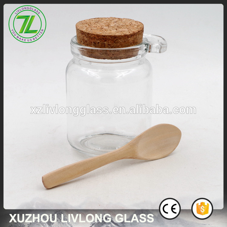 customized 8oz wooden lid spice jar 240ml wholesale glass jar with spoon