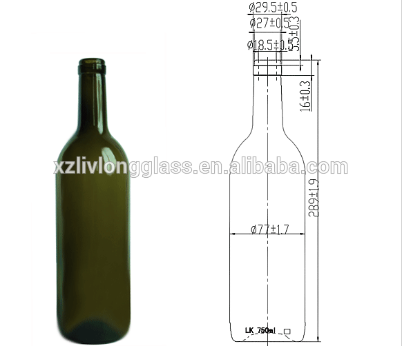 750ml Corked Green Glass Bottle For Wine