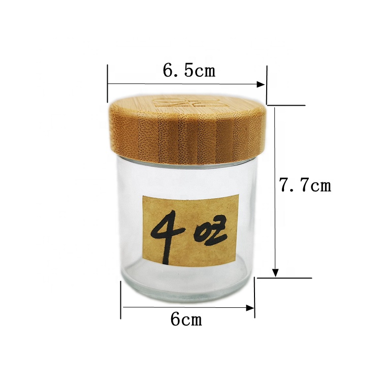 4 oz 120ml Straight Side Round Cosmetic Mason Hemp Storage Spice Glass Jars with Bamboo Top Lids