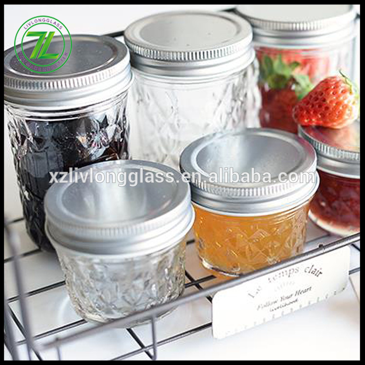 custom packaging 100ml 200ml wide mouth glass jam jar with lids and bands