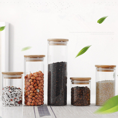 Wholesale heat-resistant glass tea bottle storage tanks environmentally-friendly sealed cans creative bamboo and wood cover