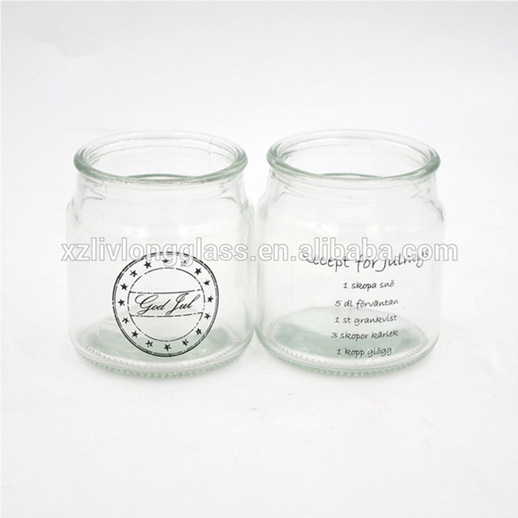 wholesale 180ml clear glass candle holder jar with glass lid