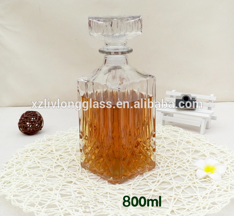 WHOLESALE Fancy Square Liquor Wine Glass Bottle with Glass Stopper