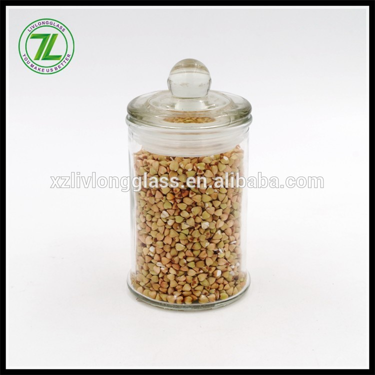 glass candy spice jar with glass lid