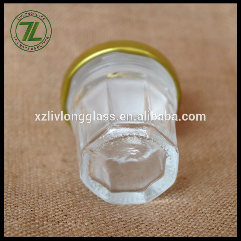 30ml 1oz mult-sided glass honey jam jar with gold lid