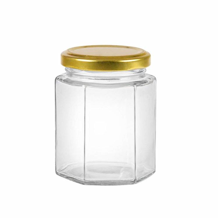 Hexagon Glass Jars Empty Hex Jars with Twist Gold Lids Featured Image