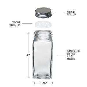 glass 4oz square spice jar with shaker, funnel for DIY homemade
