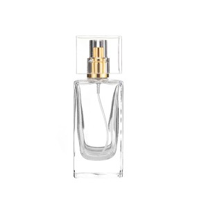 Flat Square 30ml 50ml Perfume Glass Bottle With Spray Lid