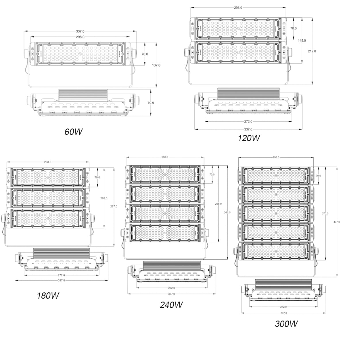LED GROW LIGHT SIZE