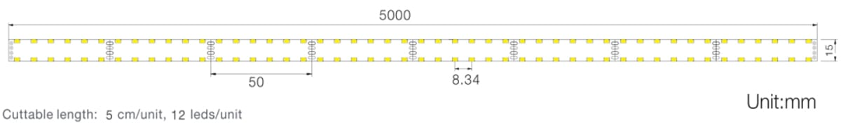 SMD3014 series, 240LEDs, LED strips, side-view size