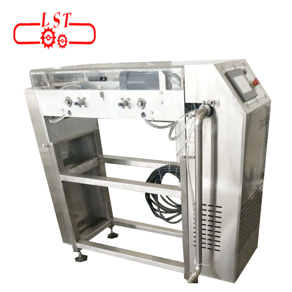 Fully automatic chocolate chips drops depositing machine with cooling tunnel