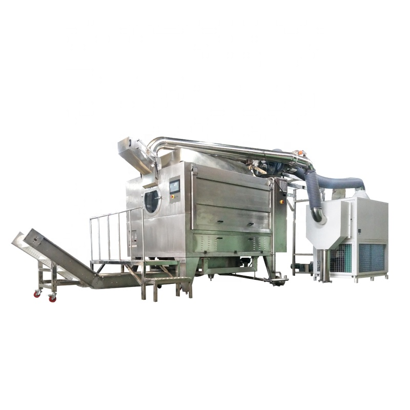 Fully Automatic 400-1000 KG/Batch Rotary-drum Sugar Powder Chocolate Coating Machine