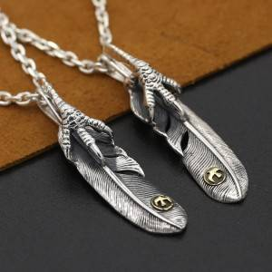 New Arrival S925 Pure Silver Retro Thai Silver Pendant Charms Japanese Korean Personality Handmade Silver Eagle Claw Feather Pendants