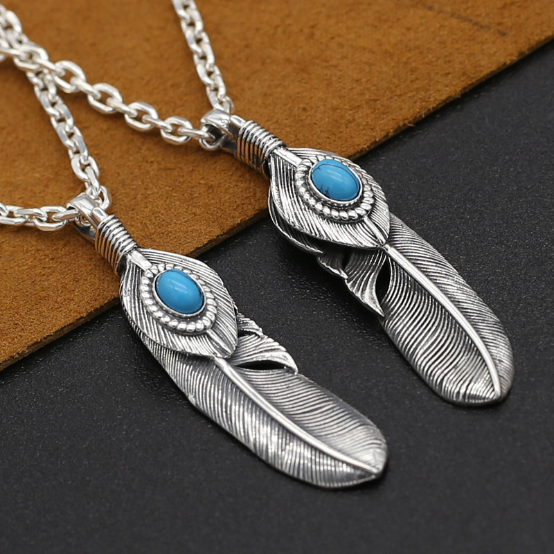 S925 Pure Silver Antique Thai Silver Pendant Charms Japanese Korean Handmade Eagle Blue Pine Feather Pendants Jewelry Featured Image