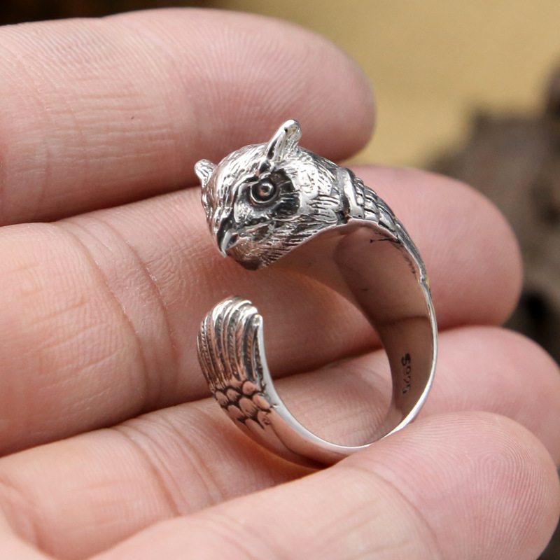 Factory Wholesale S925 Sterling Silver Rings Retro Creative Personality Owl Open Ring Fashion Ring For Men Women Jewelry Featured Image