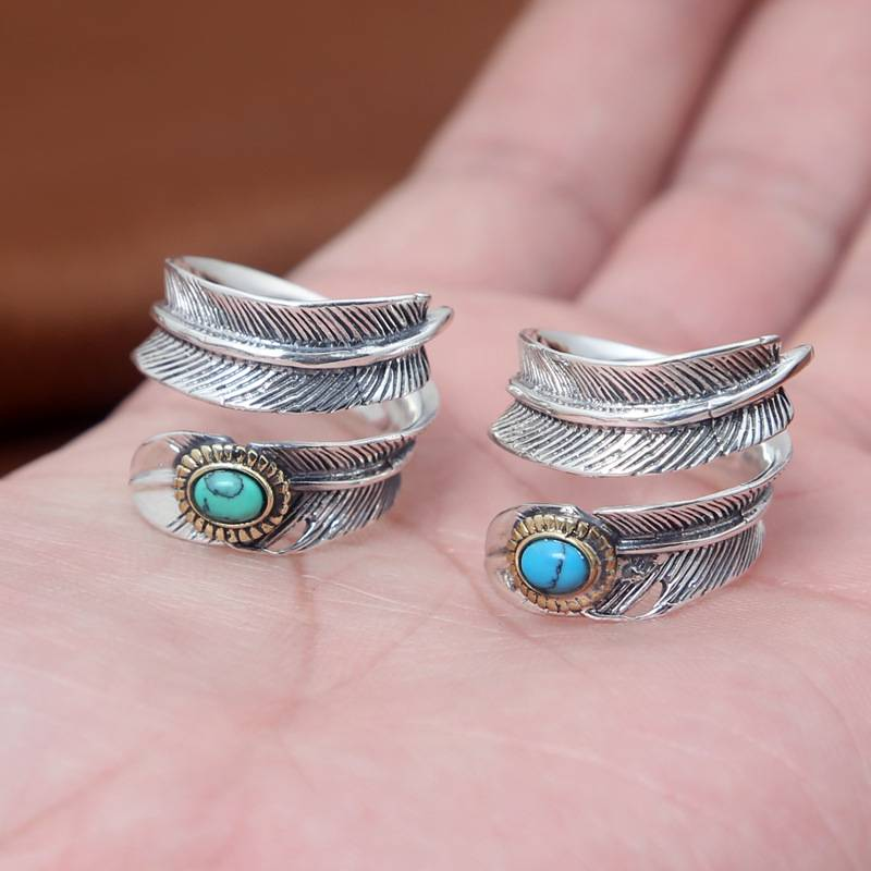 New Arrival S925 Sterling Silver Rings Japanese Korean Turquoise Feather Ring opening For Men Women Jewelry Featured Image